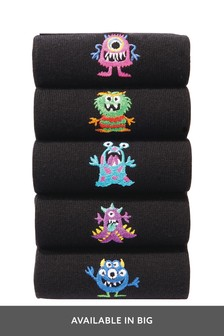 Black Monster Embroidered Socks Five Pack