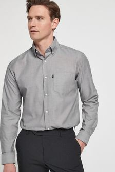 Light Grey Slim Fit Single Cuff Easy Iron Button Down Oxford Shirt