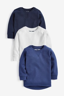 Blue 3 Pack Long Sleeve Textured T-Shirts (3mths-7yrs)