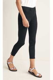 Black Jersey Cropped Leggings