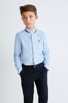 Blue Long Sleeve Oxford Shirt With Taped Collar (3-16yrs)