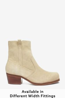 Nude Extra Wide Fit Suede Western Ankle Boots