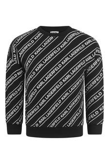 Boys Black Logo Print Sweater