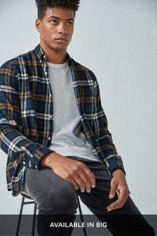 Navy/Ochre Regular Fit Brushed Flannel Check Long Sleeve Shirt