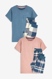 Blush/Blue 2 Pack Check Pyjamas (3-16yrs)
