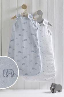 2 Pack Elephant & Stars 2.5 Tog Sleep Bags