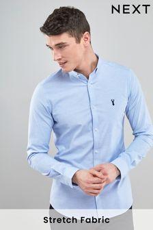 Light Blue Skinny Fit Long Sleeve Stretch Oxford Shirt