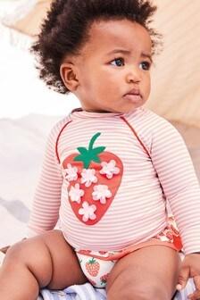Boden Pink Appliqué Sunsafe Rash Vest Set