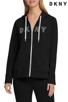 DKNY Black Logo Zip Through Hoody