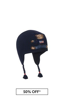 Baby Boys Navy Merino Wool Bear Hat