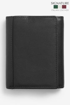 Black Signature Italian Leather Extra Capacity Trifold Wallet
