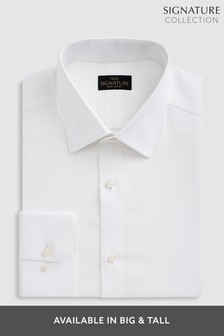 White Slim Fit Single Cuff Signature Textured Shirt