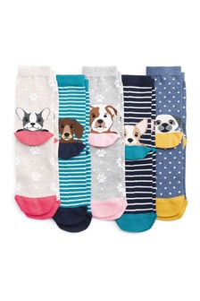 Multi Dog Heel Socks Five Pack
