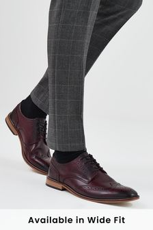 Burgundy Contrast Sole Leather Brogues