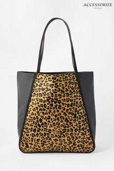 Accessorize Leopard Print Suki Leather Tote Bag