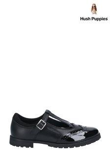 Hush Puppies Black Maisie Junior Buckle School Shoes