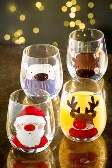Christmas Characters Set of 4 Short Tumbler Glasses