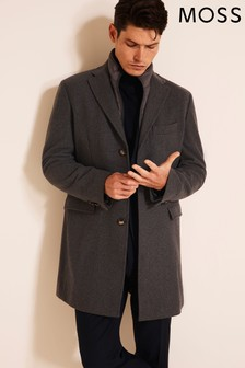 Moss 1851 Grey Tailored Fit Epsom With Insert Overcoat