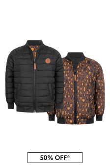 Kids Black & Leopard Reversible Insulator Jacket