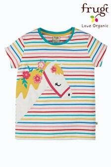 Frugi White Rainbow Horse Organic Cotton T-Shirt