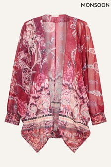 Monsoon Pink Ikat Print Cocoon Cover-Up