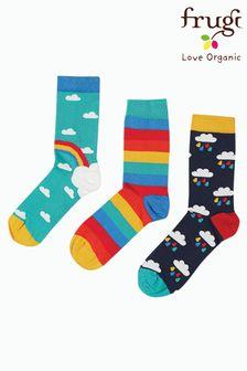 Frugi Blue Rainbow Organic Cotton Socks 3 Pack