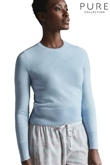 Pure Collection Blue Cashmere Cropped Sweater