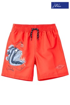 Joules Red Oceanside Placement Print Swim Shorts