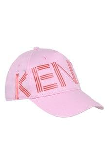 Girls Pink Cotton Logo Cap