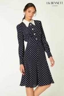 L.K.Bennett Blue Mathilde 30s' Style Polkadot Print Dress