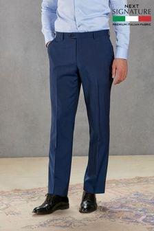 Bright Blue Regular Fit Signature Suit: Trousers