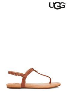 UGG Tan Madeena Leather Toe Thong Sandals