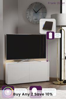 Frank Olsen Smart LED White Corner TV Cabinet