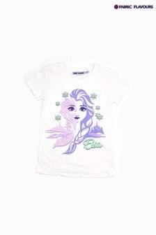 Fabric Flavours White Pink Disney Frozen Elsa Character T-Shirt