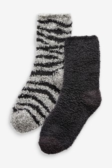 Charcoal Zebra Cosy Bed Socks Two Pack