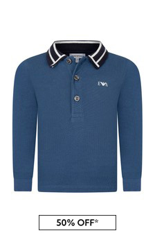 Baby Boys Blue Cotton Long Sleeve Polo Top