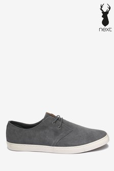 Grey Casual Suede Derby Shoes