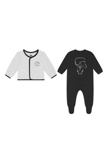 Baby Boys Grey/Black Babygrow Gift Set
