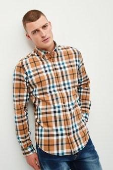 Camel Check Long Sleeve Shirt