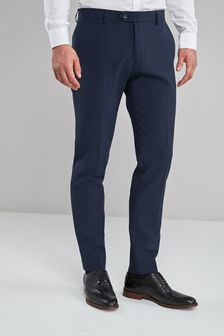 Navy Skinny Fit Machine Washable Plain Front Trousers