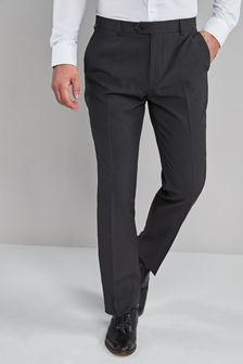 Charcoal Regular Fit Machine Washable Plain Front Trousers