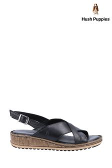 Hush Puppies Black Elena Cross Over Wedge Sandals
