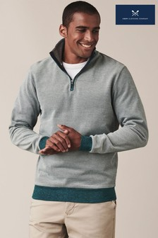 Crew Clothing Company Green Birdseye Half Zip Sweatshirt