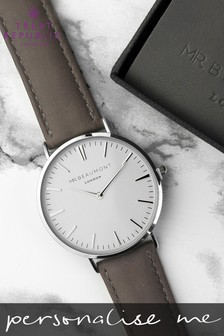 Personalised Men's Modern Vintage Grey Leather Watch by Treat Republic
