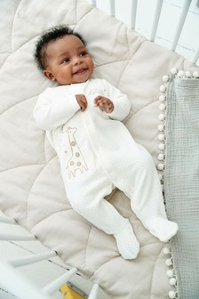 Ecru Giraffe Embroidered Velour Sleepsuit (0-18mths)