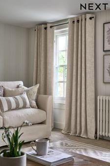Natural Textured Fleck Eyelet Lined Curtains