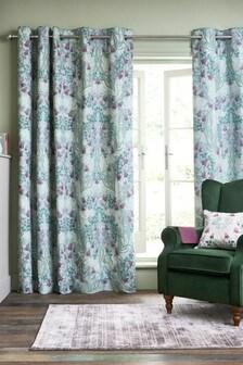 Hadley Mirror Floral Eyelet Curtains