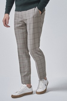 Taupe Drawstring Formal Trousers