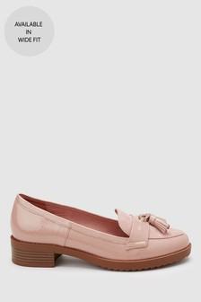 4dfe432345d801 Nude Material Mix Cleated Tassel Loafers ...