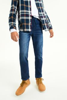 Indigo Regular Fit Jersey Denim Pull-On Jeans (3-16yrs)